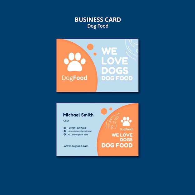 Dog food business card template Free Psd