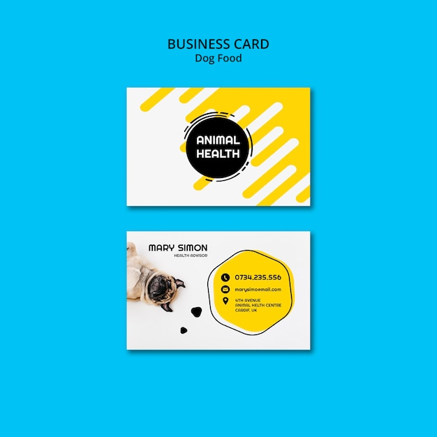 Dog food business card with photo Free Psd