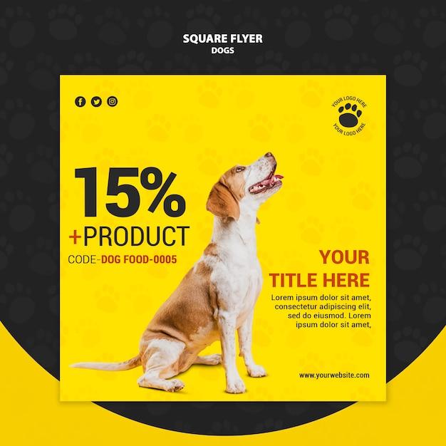 Корм для собак со скидкой квадратный дизайн флаера Бесплатные Psd