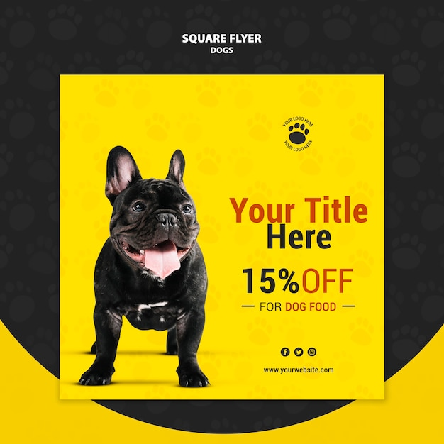 Dog food discount square flyer style Free Psd