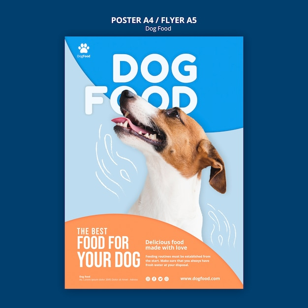 Dog food flyer a5 template Free Psd
