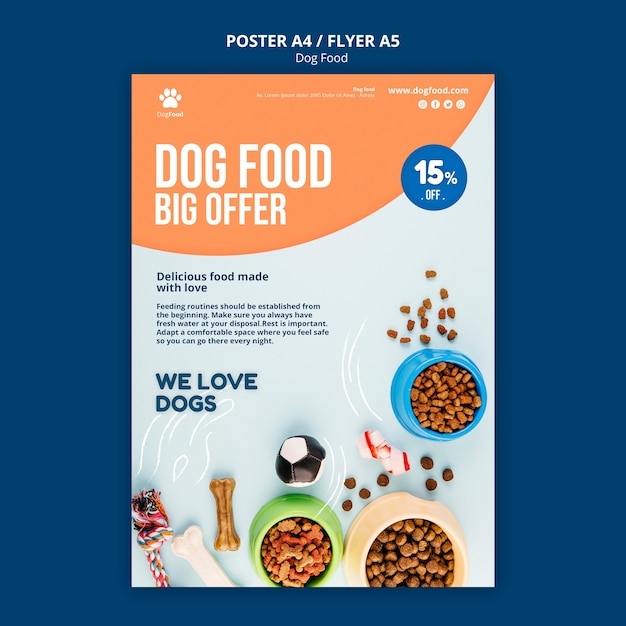 Dog food flyer template Free Psd