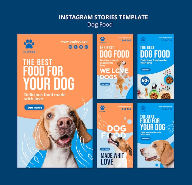 Dog food instagram stories template Free Psd
