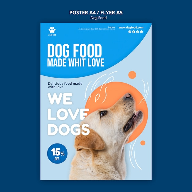 Dog food poster a4 template Free Psd