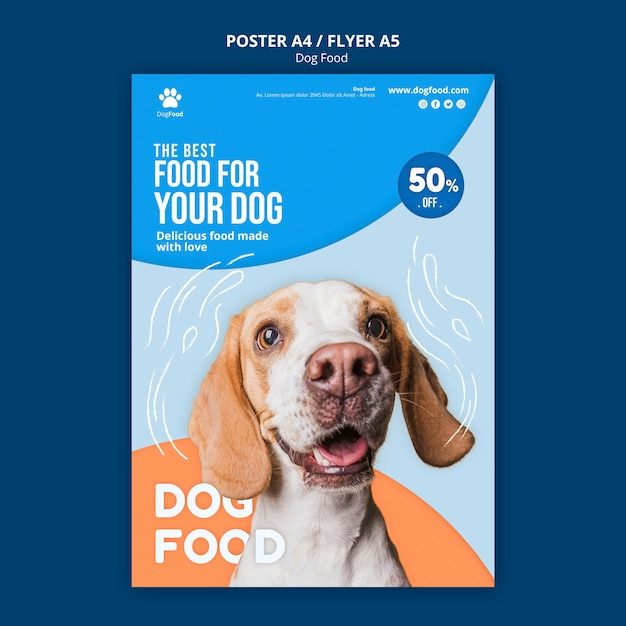 Dog food poster/flyer template Free Psd
