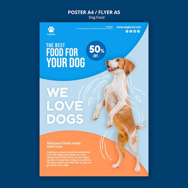 Dog food poster template Free Psd