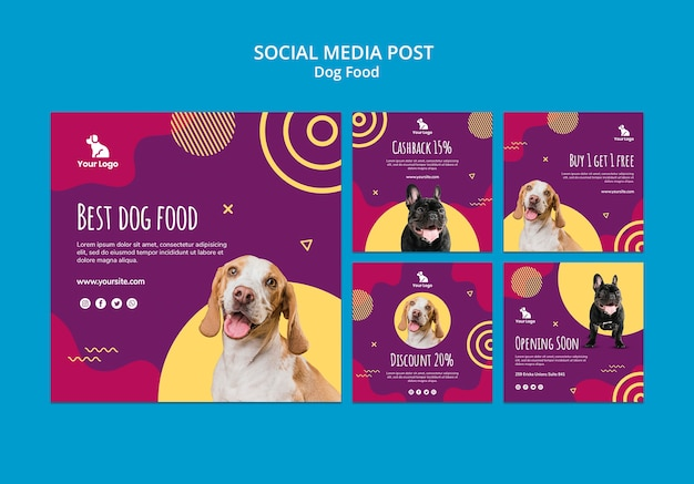 Dog food social media post template Free Psd