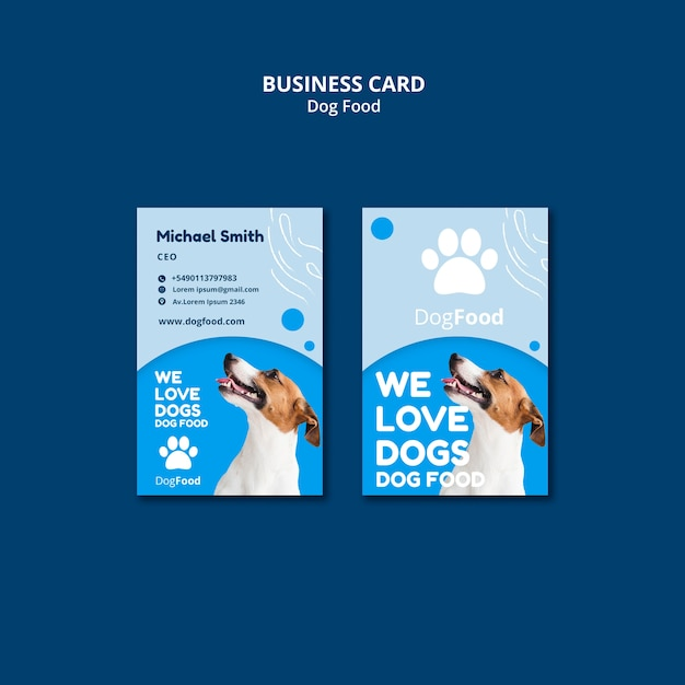 Dog food vertical business card template Free Psd