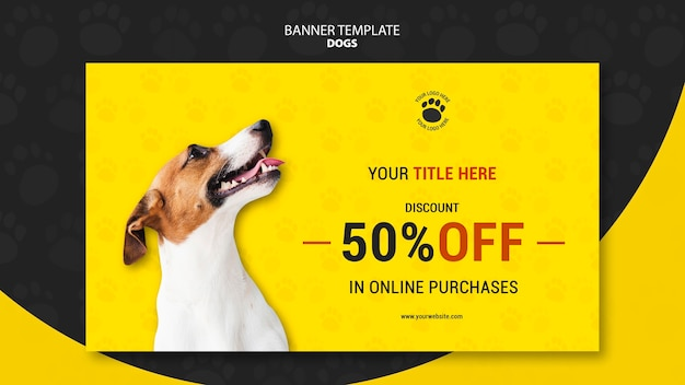 Dog online purchases banner template Free Psd