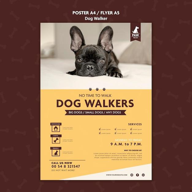 Cartellonistica per cani walker Psd Gratuite