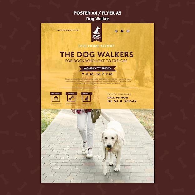 Tema del poster di dog walker Psd Gratuite