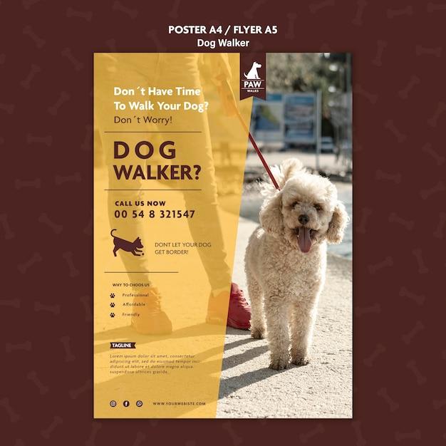 Poster di dog walker Psd Gratuite