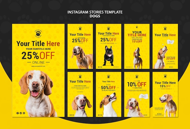 Dogs discount instagram stories template Free Psd