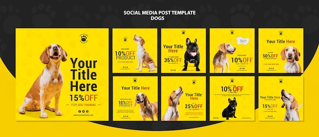 Dogs discount social media posts Free Psd