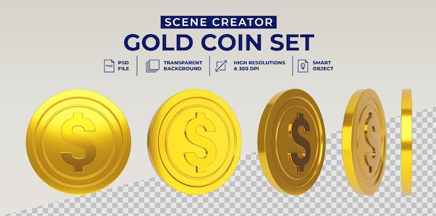 Dollar gold coin set in 3d rendering isolated Premium Psd