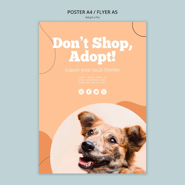 쇼핑하지 말고 애완 동물 포스터 템플릿을 채택하십시오. 무료 PSD 파일