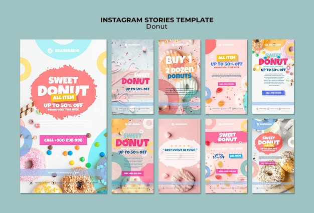 Donut instagram stories template Free Psd