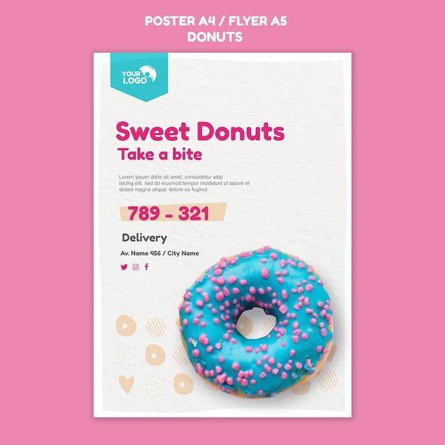 Пончики магазин шаблон плаката Бесплатные Psd