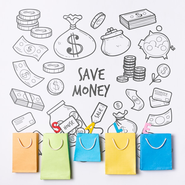 Doodle financial background with paper bags Free Psd