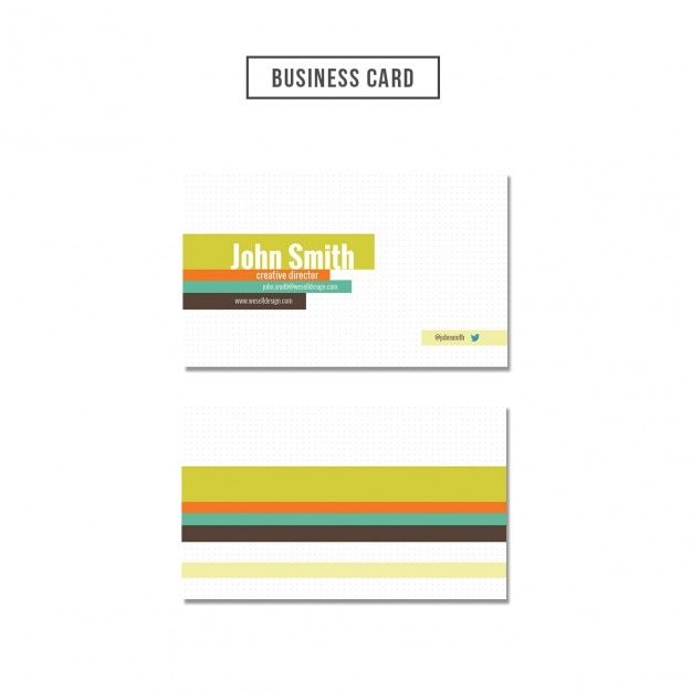 Dots textured business card with colored strapes Free Psd