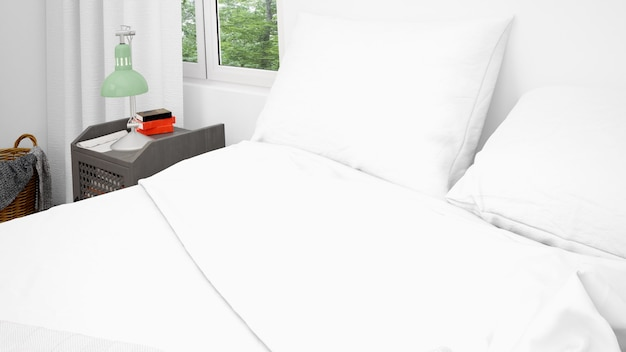 Двуспальная кровать с белыми подушками и простынями, крупным планом Бесплатные Psd