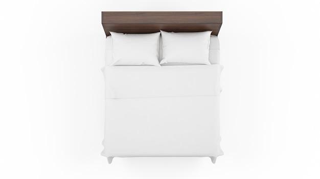 Двуспальная кровать с деревянной рамой и белыми простынями, изолированная, вид сверху Бесплатные Psd