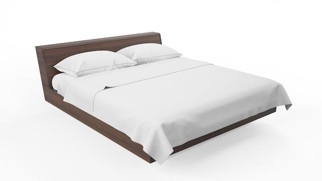 Двуспальная кровать с деревянной рамой и белыми простынями, изолированная Бесплатные Psd