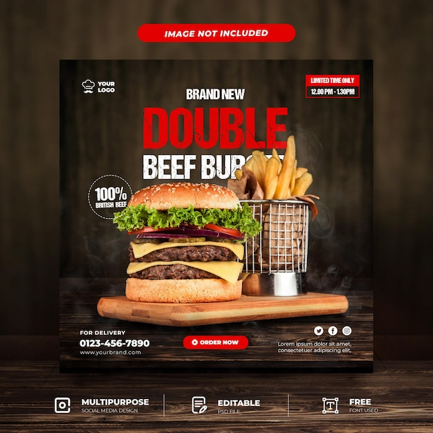 Double beef burger set social media template Premium Psd