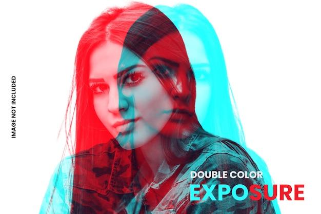 Double color exposure photo effect template Premium Psd