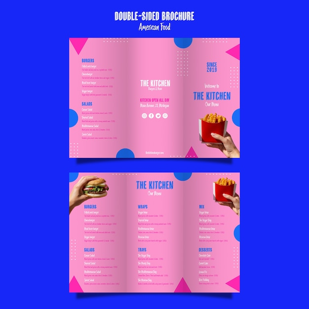 Double sided brochure kitchen menu Free Psd
