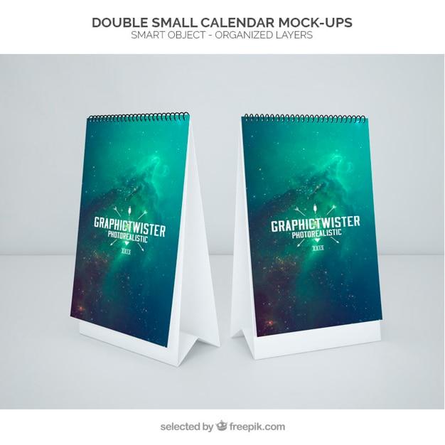 Double small calendar mockup Free Psd