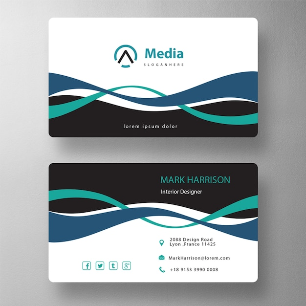 Double wavy shape business card Free Psd
