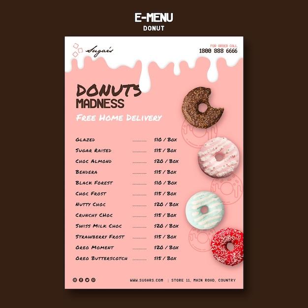 Doughnuts madness e-menu template Free Psd