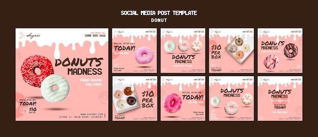 Doughnuts madness instagram post template Free Psd