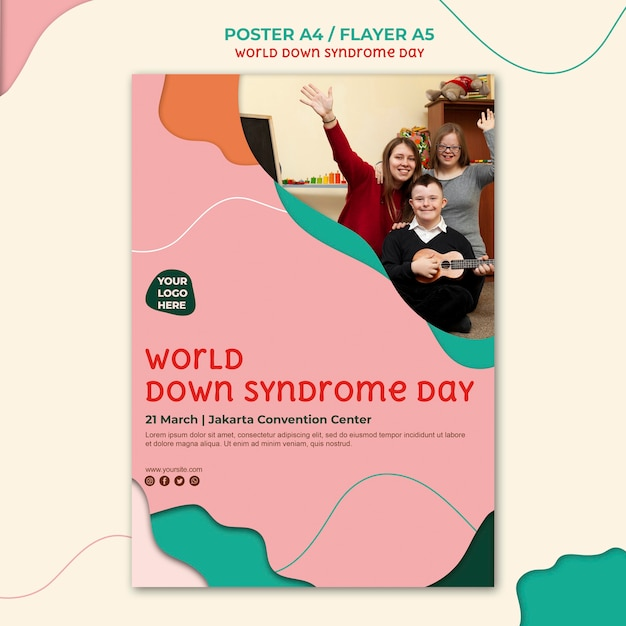 Design flyer giorno sindrome di down Psd Gratuite