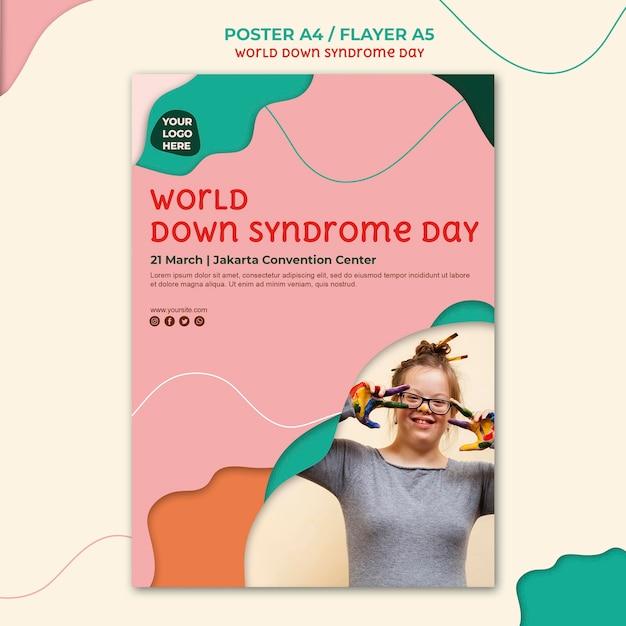 다운 증후군의 날 포스터 스타일 무료 PSD 파일