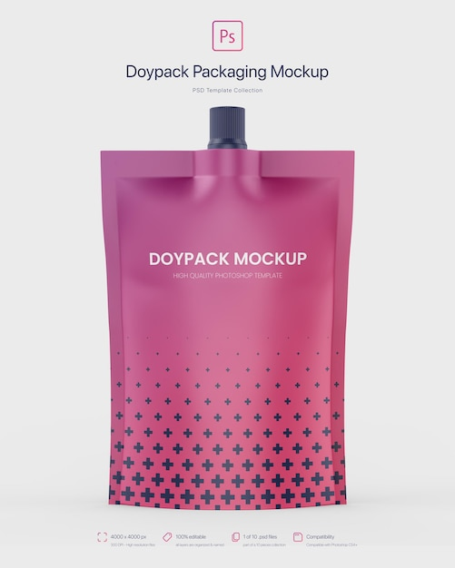 Doypack packaging with top spout mockup Free Psd