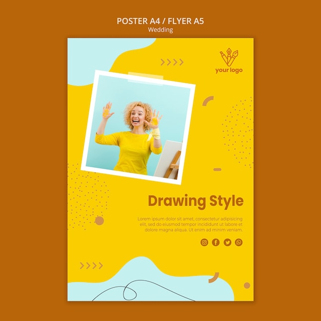 Drawing class poster style Free Psd