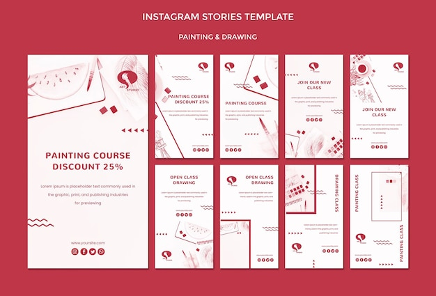 Drawing and painting instagram stories template Free Psd