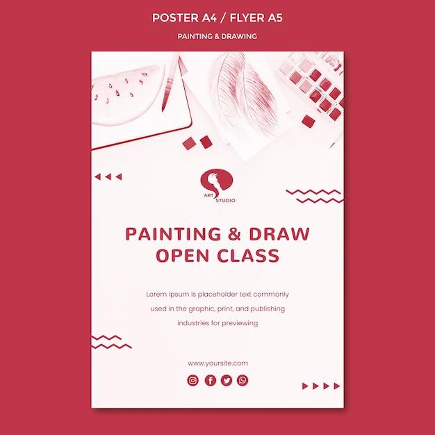 Modello di poster di disegno e pittura Psd Gratuite