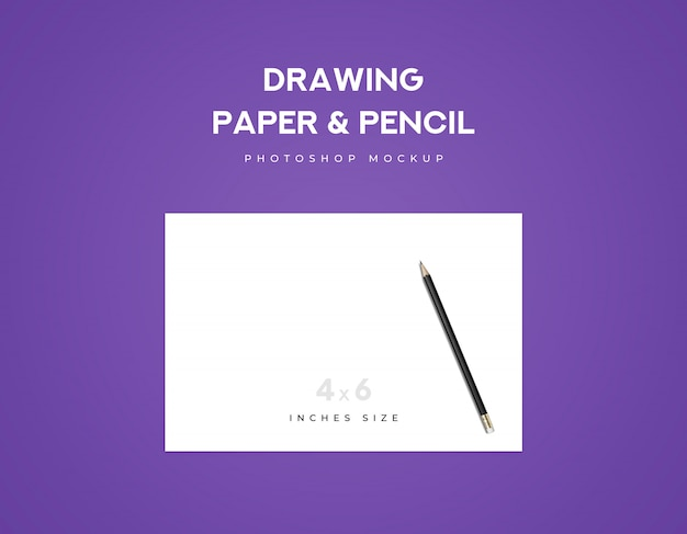 Drawing paper and black pencil on a paper with violet background Premium Psd
