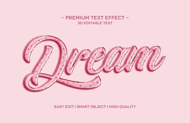 夢の3dテキストスタイル効果テンプレート Premium Psd