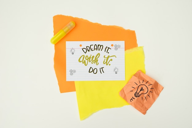 Dream it wish it do it quote notes top view Free Psd