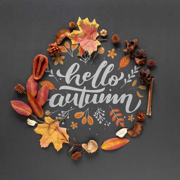 Dried leaves on black background Free Psd