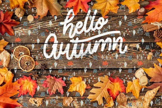 Dried leaves frame and hello autumn text Free Psd