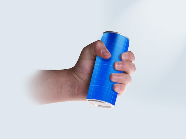 Drink can in hand Premium Psd