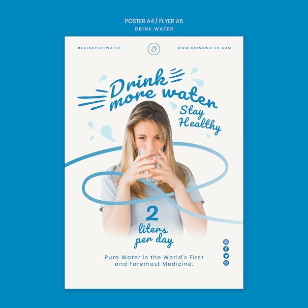 Шаблон плаката концепции питьевой воды Бесплатные Psd