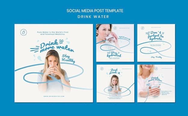 Bere acqua concetto social media post modello Psd Gratuite