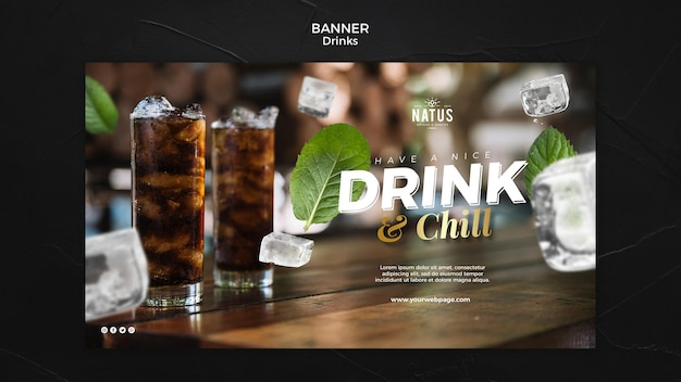 Drinks concept banner template Free Psd