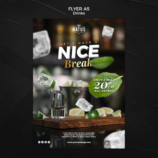 Drinks concept flyer template Free Psd